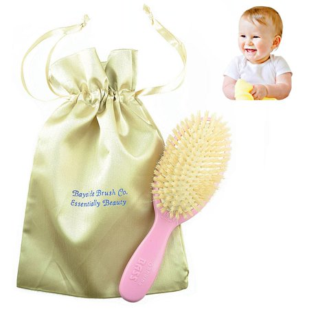 Bass Natural Satin - Bass Baby BS27 Hair Brush,100% Pure Soft White Natural Bristles and Gold Satin Brush Travel Bag. For Newborns Infants and Toddlers with Fine Hair. Detangle Hair, Massage and Stimulate the