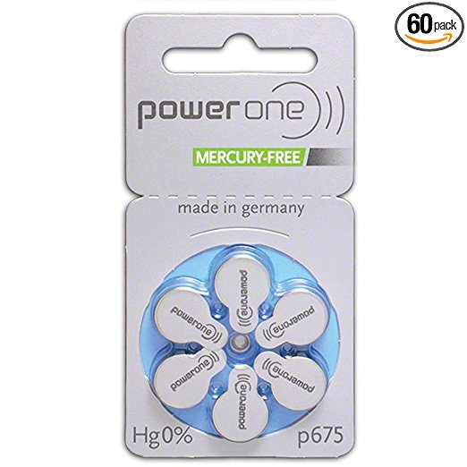 PowerOne Mercury Free Hearing Aid Batteries Size 675 - Pack of 60 + Free Battery Caddy