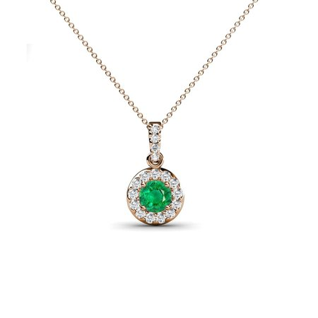 Emerald and Diamond(SI2-I1, G-H) Halo Circle Pendant 0.37 Carat tw in 14K Rose Gold with 14K Gold Chain
