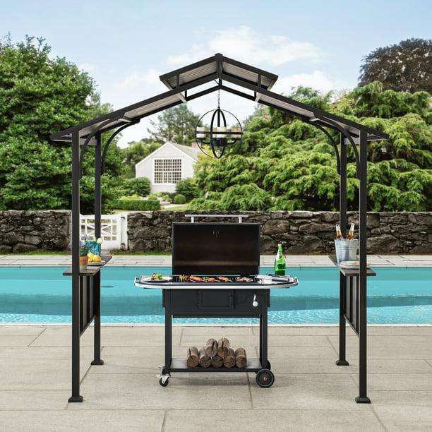 Sunjoy Belmont 5 ft. x 8 ft. Brown Steel 2-tier Grill ...