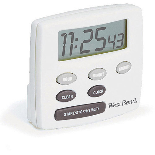 West Bend Single Channel Timer with Clock, White