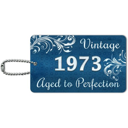 Blue Vintage Aged to Perfection 1973 ID Tag Luggage Card for Suitcase or Carry-On
