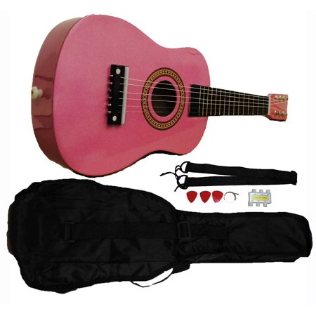 Mini Kids Acoustic Toy Guitar Kit Gig Bag + Picks + Strap + Tuner - Glitter (Best Acoustic Guitar Cleaning Kit)