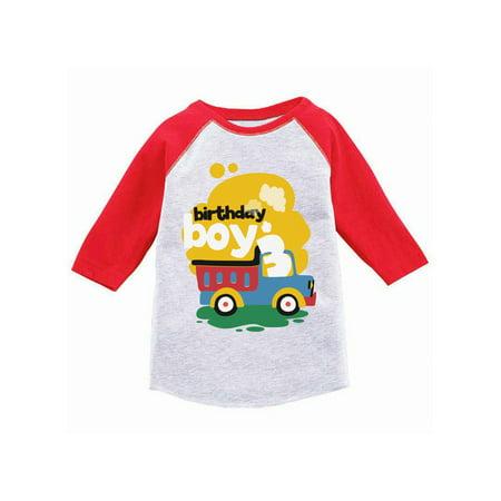 Awkward Styles Toy Truck Birthday Boy Toddler Raglan 3rd Birthday Jersey Shirt Boys Birthday Party Outfit Third Birthday Gifts for 3 Year Old Boy Birthday Shirt for Toddler Boy Truck Themed