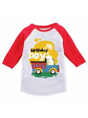 Product Image Awkward Styles Toy Truck Birthday Boy Toddler Raglan 3rd Jersey Shirt Boys Party Outfit