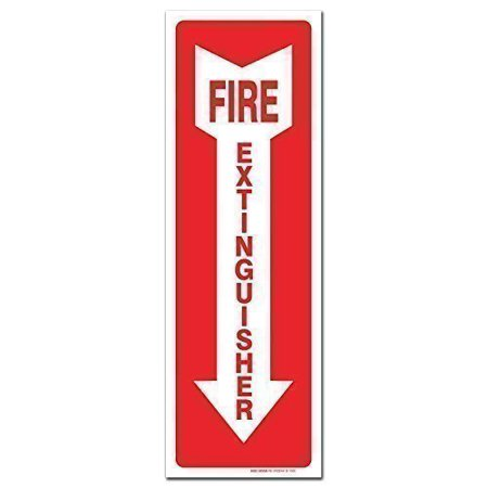 "Fire Extinguisher Sign Self Adhesive 4 X 12"" 4 Mil Vinyl Decal - Indoor & Outdoor Use - UV Protected & Waterproof - Sleek"
