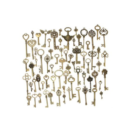Key Charms (69Pcs Bronze Skeleton Key Heart Pendant Vintage Retro Style Fancy Charm Decor Christmas Gift The Black)