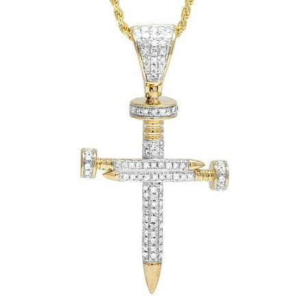 Unisex 10K Yellow Gold Real Diamond 0.50CT Nail Cross Pendant