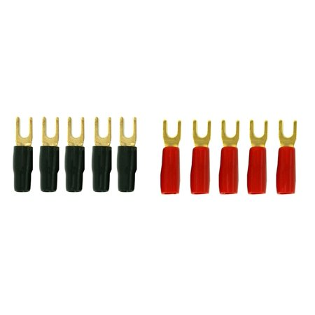 DNF 10 Pack Copper 24K Gold Plated 4 Gauge Wire Cable Spade Terminal Connectors 5 Red Boots + 5 Black Boots (10 Pack Compression Connectors)