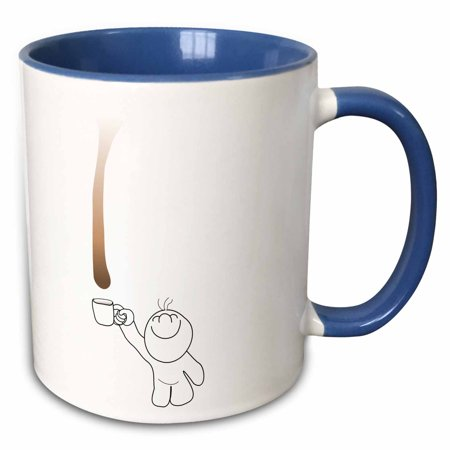 3dRose Cute Drip Guy catching chocolate or coffee drop with mug - fun funny humor fake stain unique - Two Tone Blue Mug, 11-ounce - Fun Coffee Mugs