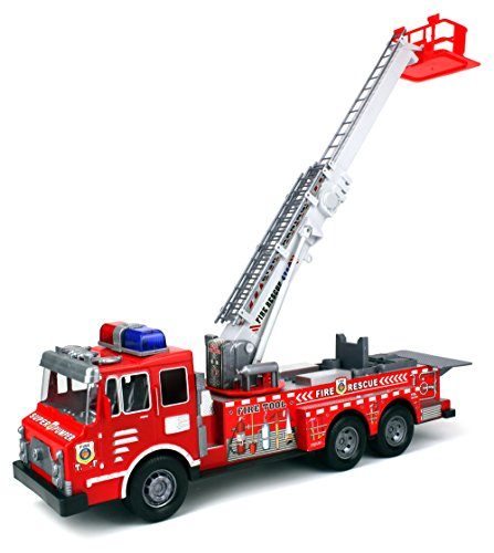 Fire Rescue F0358 Chief Team Friction Powered Toy Fire Truck w  360� Rotating Extending... by Velocity Toys