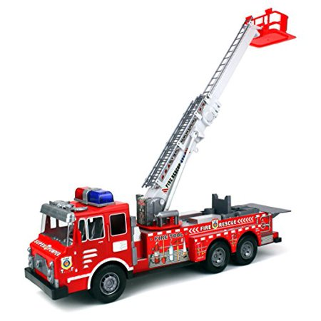 Fire Rescue F0358 Chief Team Friction Powered Toy Fire Truck w/ 360° Rotating Extending Crane, No Batteries Required