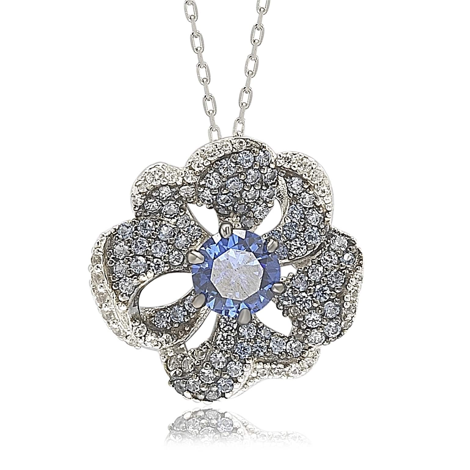 Suzy Levian Sterling Silver Sapphire and Diamond Accent Whimsical Flower Pendant Necklace