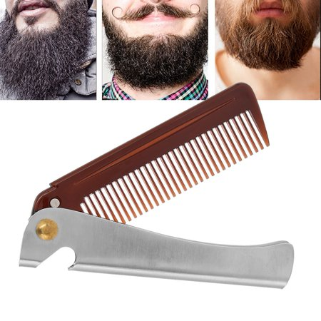 Ejoyous Portable Stainless Steel Beard Comb Portable Folding