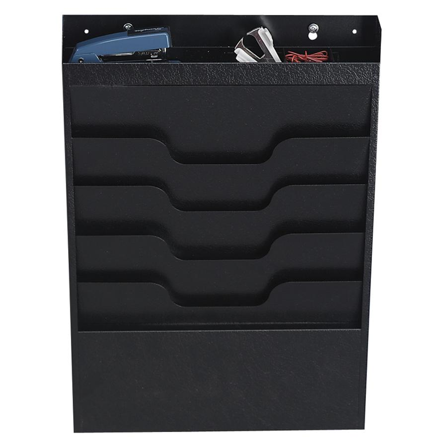 Buddy Products 4-Pocket Wall File with Supplies Organizer, Black by Buddy Products