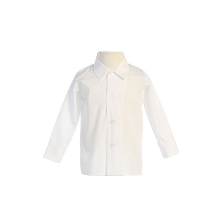 Ivory Boys Dress Shirt (Avery Hill Baby Boys Infant Toddler Long Sleeved Simple Dress Shirt in Ivory or)