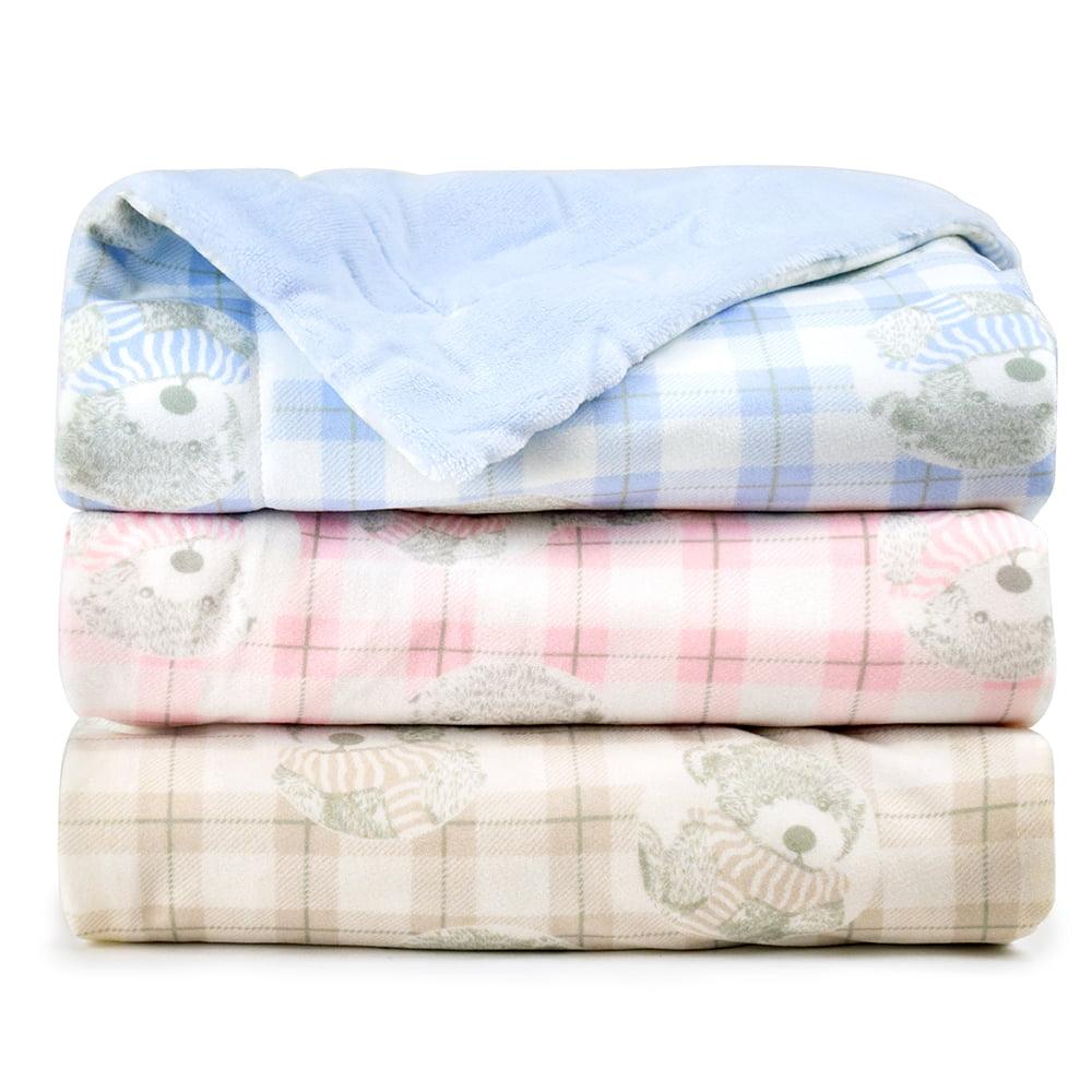JOIE BEAN Plush Baby Blanket for Newborn   Soft Minky Fleece Infant Blanket   Warm Reversible Lightweight Baby Blanket for Crib
