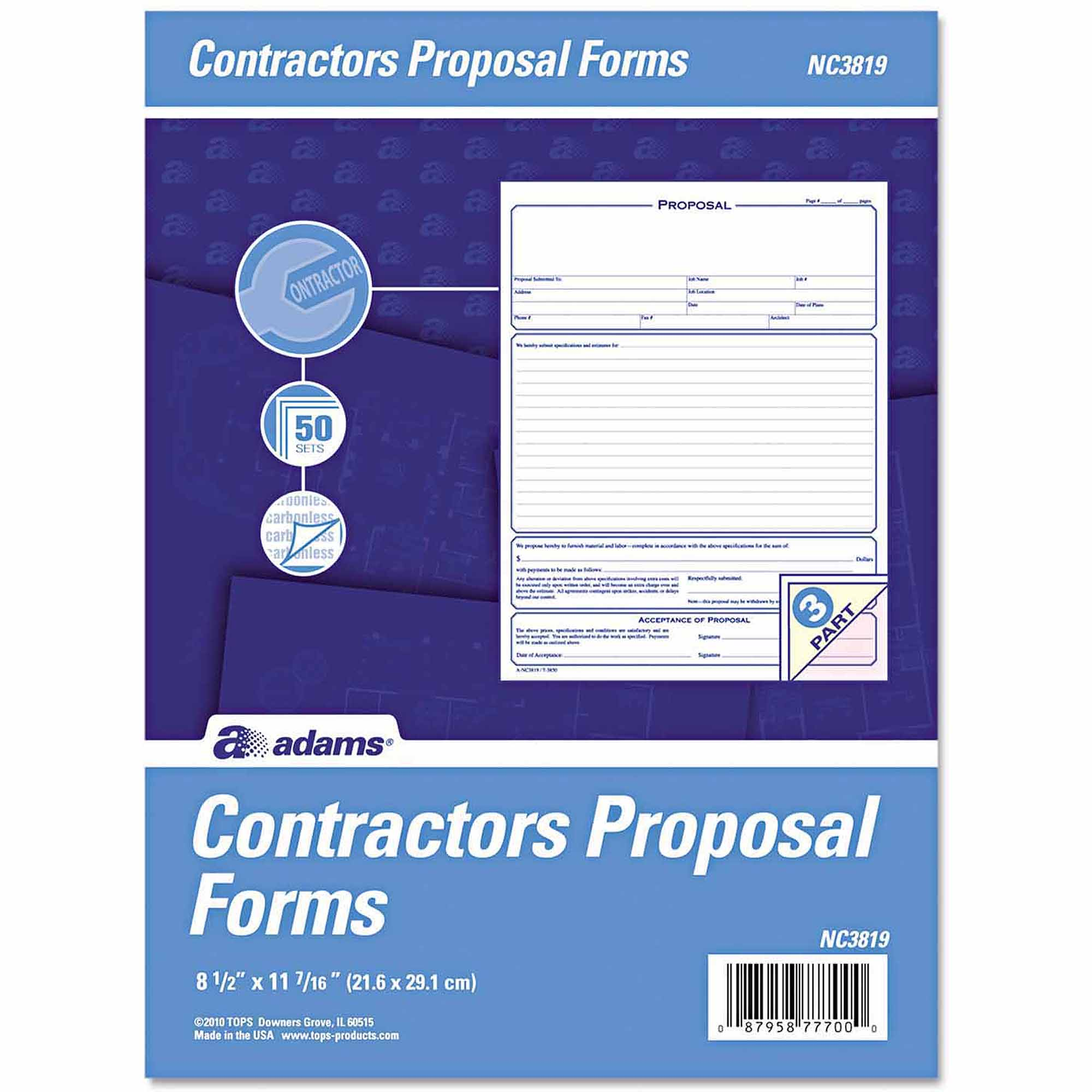 adams business forms contractor proposal forms part carbonless adams business forms contractor proposal forms 3 part carbonless 50ct com