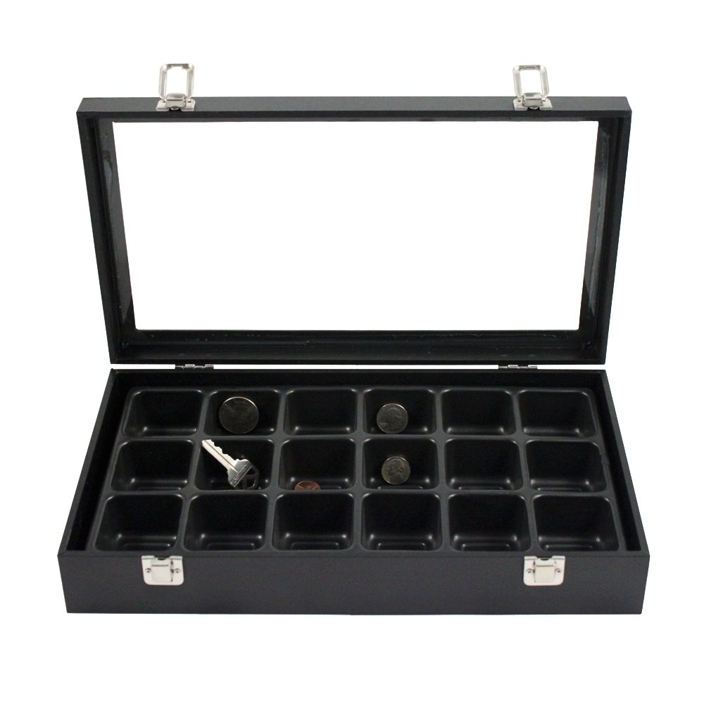 14 Inch Glass Top Jewelry Display Box and 18 Compartment Liner Tray Case Set