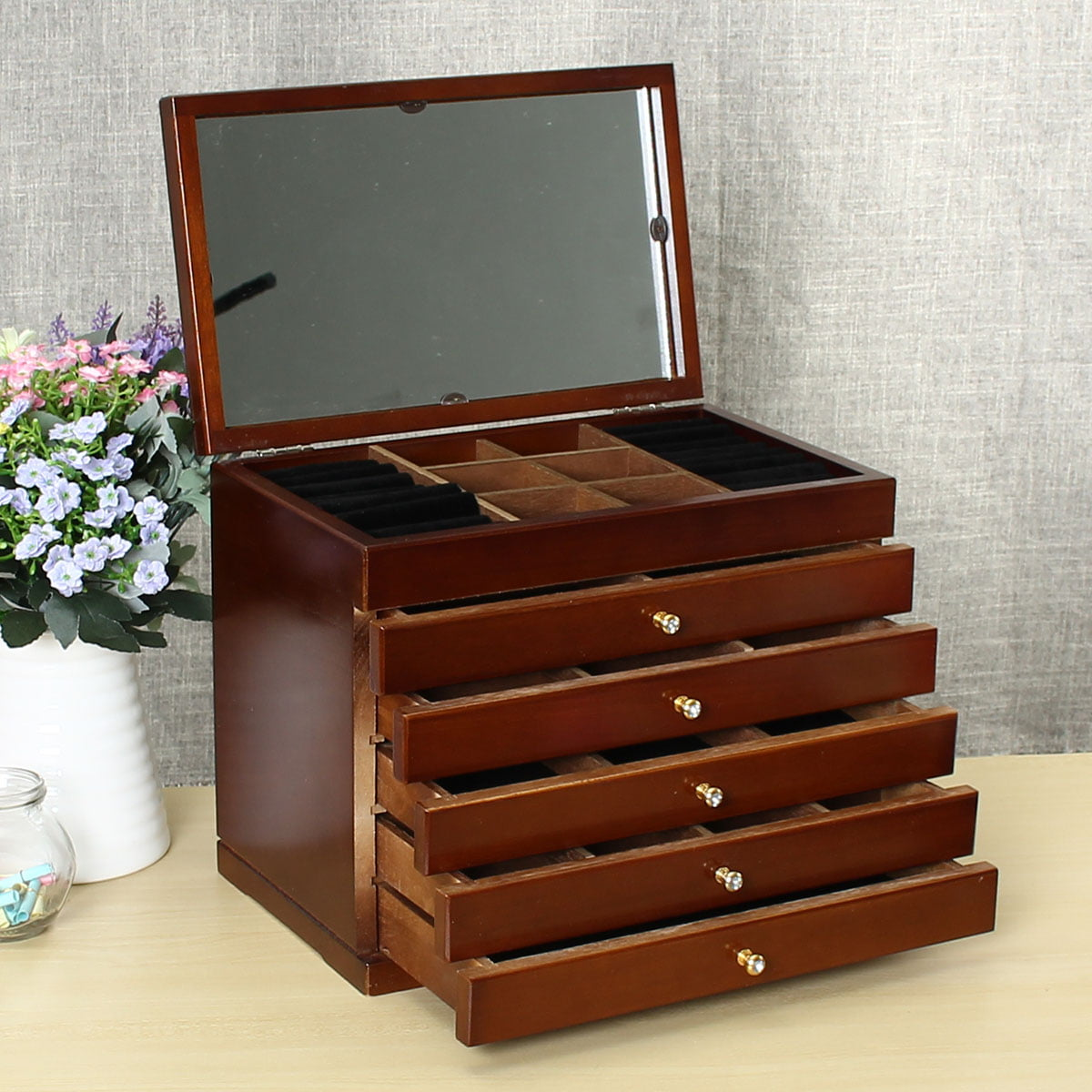 Jewelry Cabinet Armoire Storage Wood Box Chest Stand ...