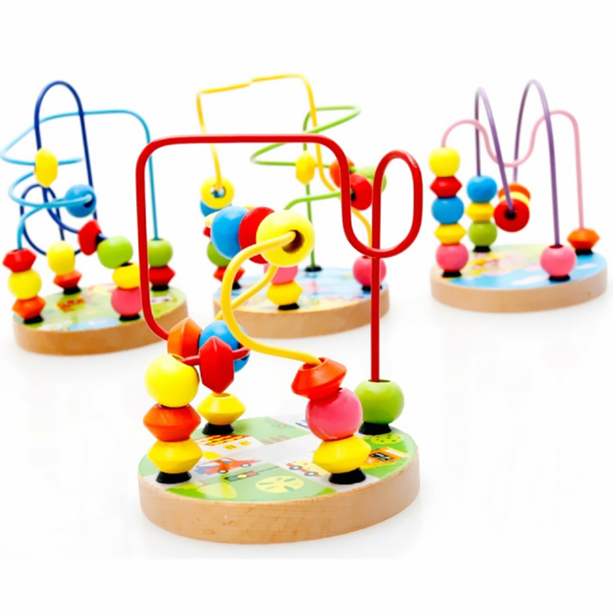 1Pc Colorful Wooden Mini Around Beads Educational Game Toy Wooden Bead Roller Coaster in Assorted Colors for Baby Kids Toddler, for 1-3 Years Children Gift