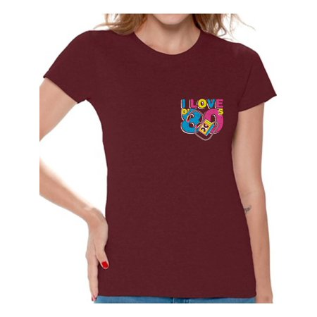 Awkward Styles I Love D' 80s Tshirts 80s Costumes for Women 80s Pocket Shirts I Love the 80's Women's Tee Shirt 80s Clothes for 80s Party 80s Disco Outfit for Women Retro Vintage T Shirt for Her - Outfits From The 80's