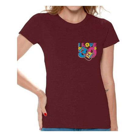 Awkward Styles I Love D' 80s Tshirts 80s Costumes for Women 80s Pocket Shirts I Love the 80's Women's Tee Shirt 80s Clothes for 80s Party 80s Disco Outfit for Women Retro Vintage T Shirt for Her - 80 Clothes