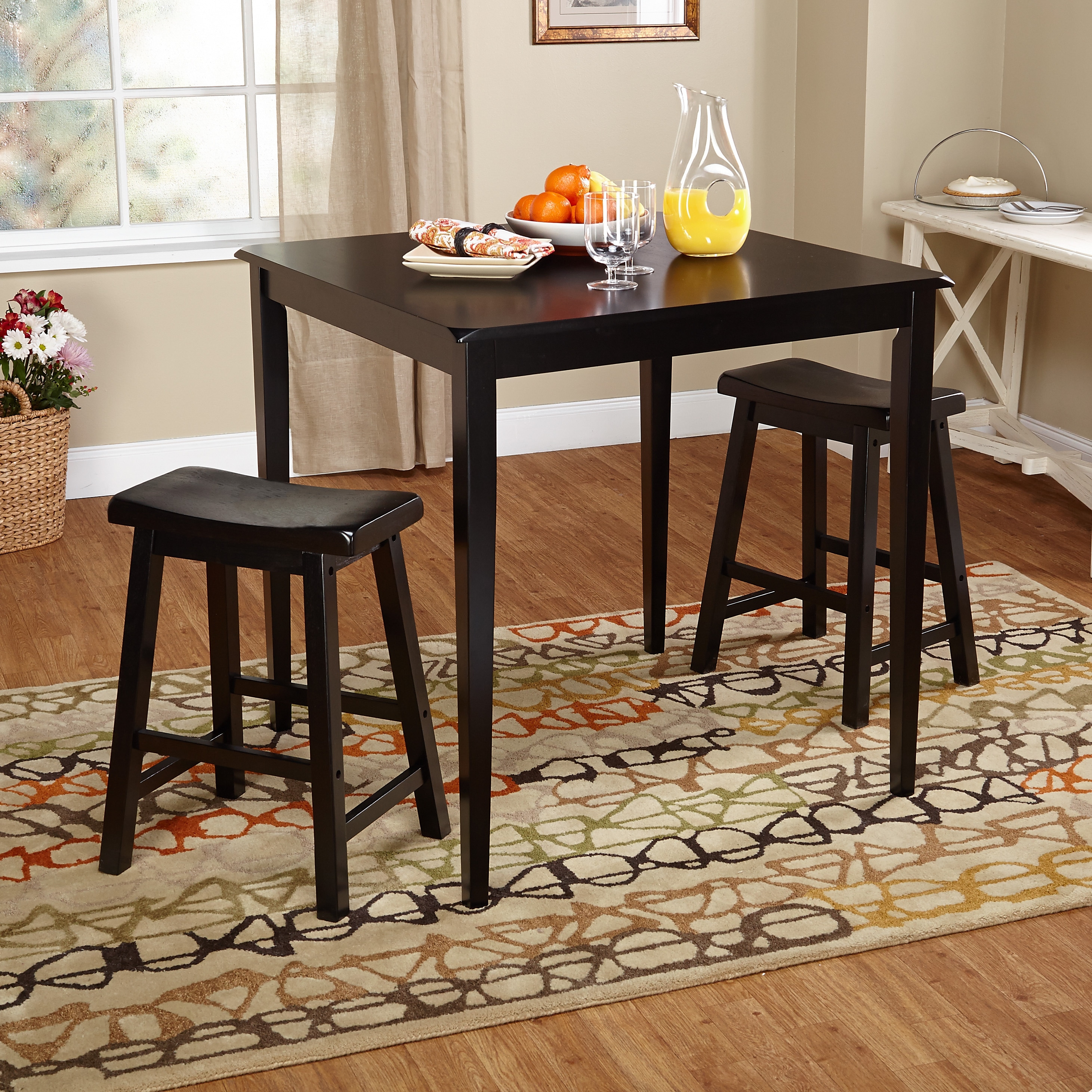 Simple Living  Belfast Black 3-piece Saddle Dining Set