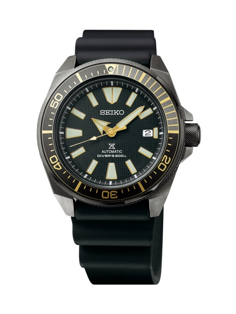 Prospex Black Ion Automatic Dive Watch with Black Silicone Strap 200 m SRPB55