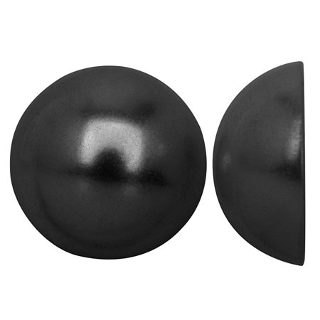 Acrylic Faux Pearl Flatback Cabochons 20mm - Pearlized Jet Hematite