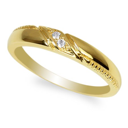 Zirconia Gp Type (Women's Yellow GP Stylish Solid Band Ring with Clear Round CZ Size)
