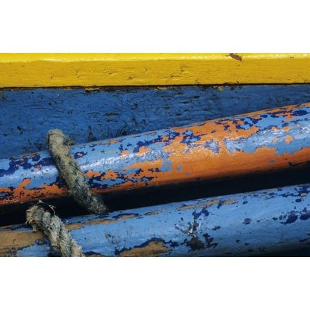 Rustic Boat Parts Detail Of Wooden Structure And Colorful Peeling Paint Canvas Art - Larry Dale Gordon Design Pics (34 x 22)