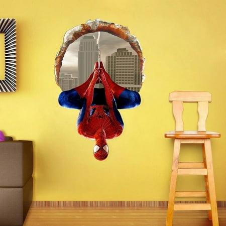 Brdroom Removable Super Hero Spider-Man Art Wall Sticker Decals Kids Baby Nursery Room Vinyl Decor DIY 60*90cm ()