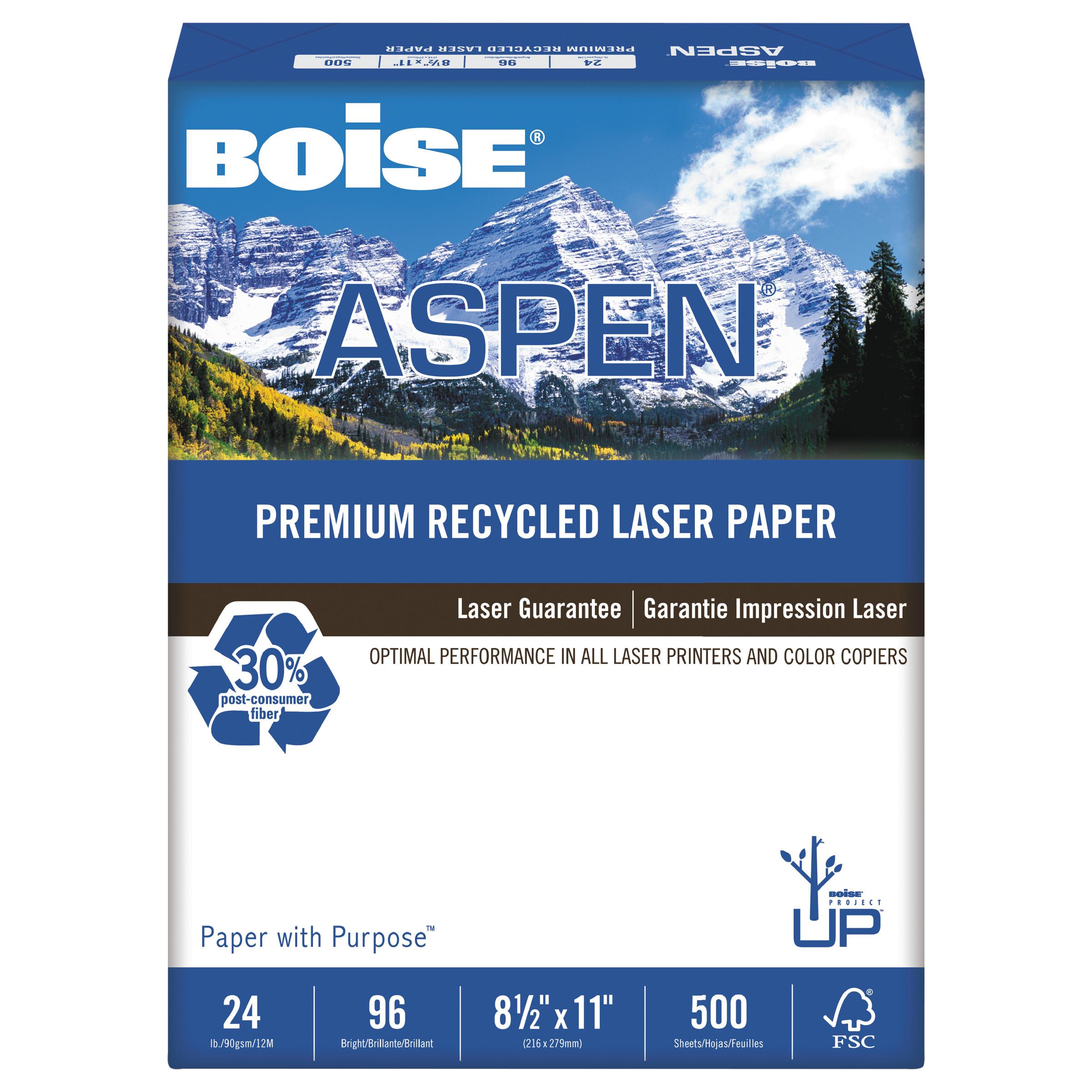 Boise ASPEN Premium Laser Paper, 96 Bright, 24lb, 8-1 2 x 11, White, 500 SHeets Ream by CASCADES