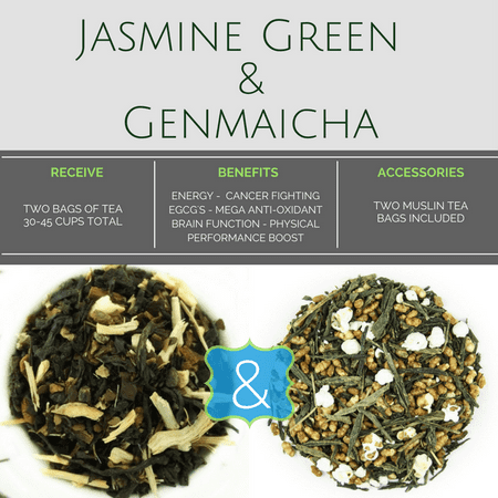"BlendBee ""Green Tea"" Combo, Jasmine & Genmaicha 3 oz. Loose-Leaf Tea"