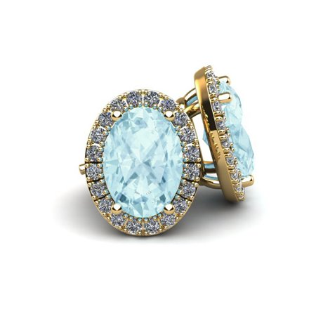 1 Carat Oval Shape Aquamarine and Halo Diamond Stud Earrings In 10 Karat Yellow Gold