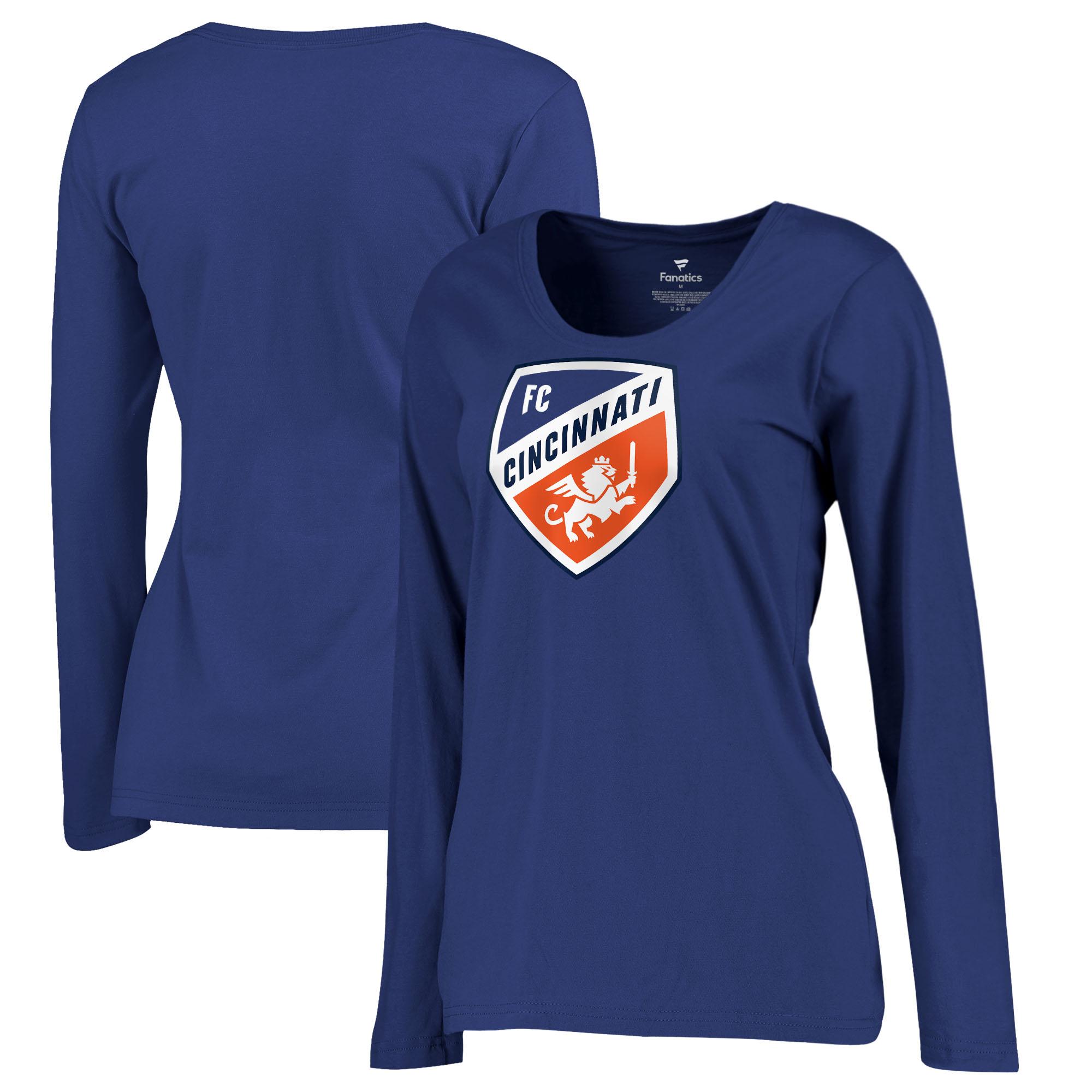 FC Cincinnati Fanatics Branded Women's Primary Logo Plus Size Long Sleeve V-Neck T-Shirt - Royal