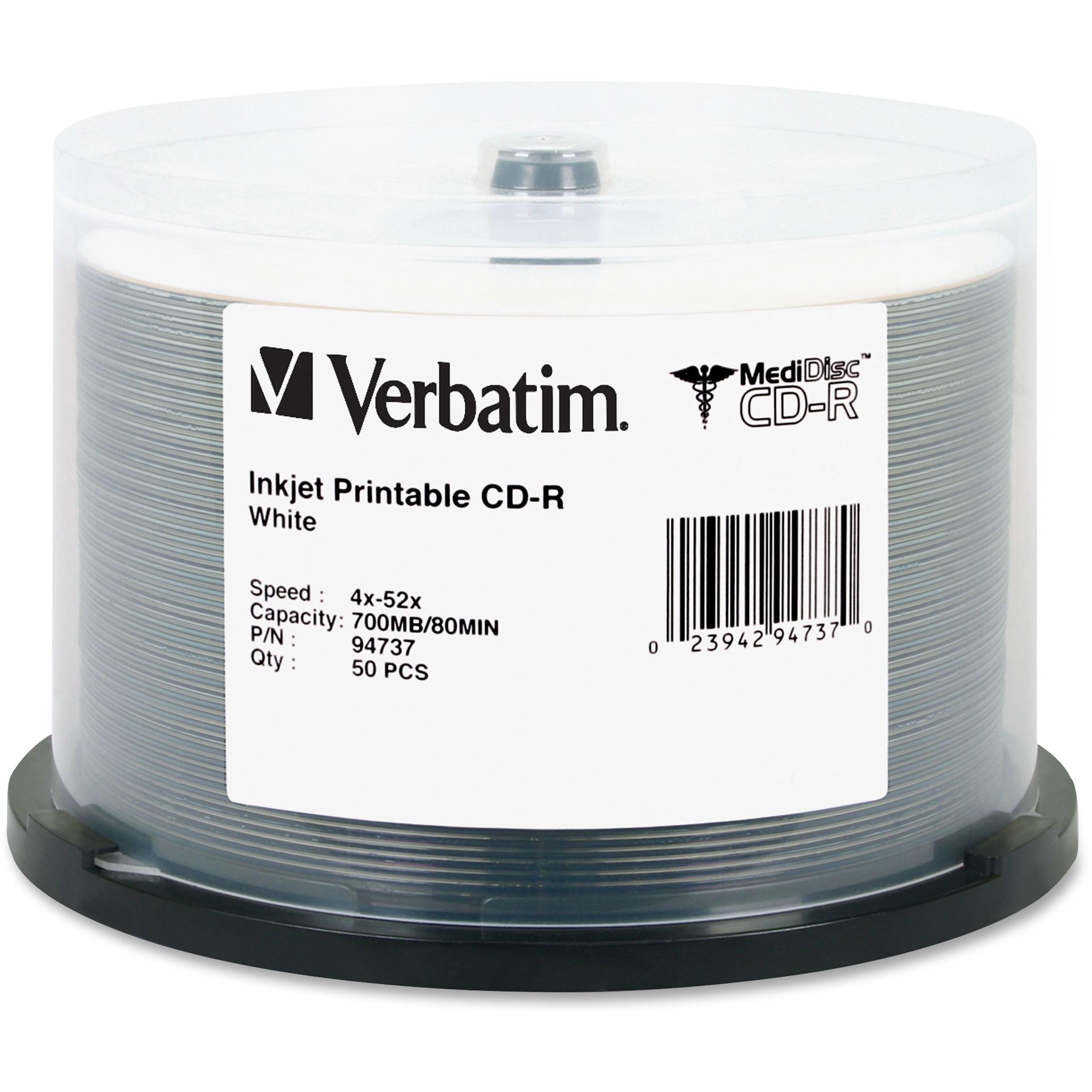 Verbatim, VER94737, Inkjet Printable MediDisc CD-Rs, 50, White