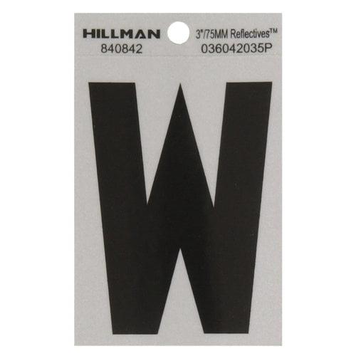 """Letter,'W' 3"""" B&S Vinyl Mylar"""