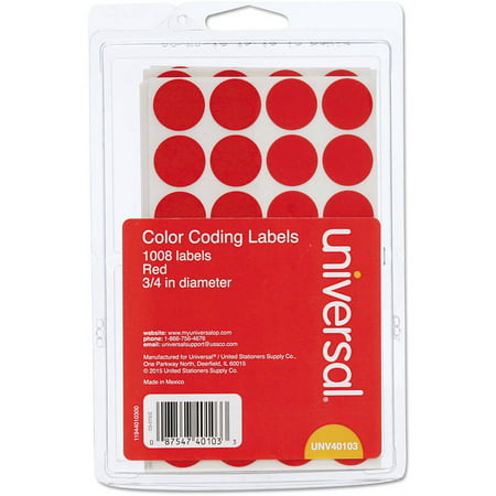 """(3 Pack) Universal Self-Adhesive Removable Color-Coding Labels, 3/4"""" dia, Red, 1008/Pack -UNV40103"""
