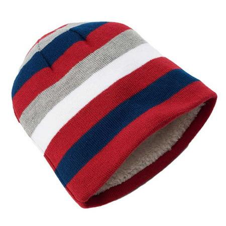 Urban Pipeline Men Thin Striped Beanie Hat White Fur Multi Colored One - Urban Mens Hat