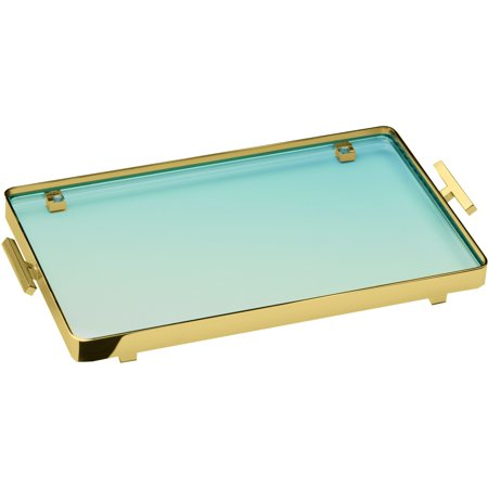 BoxMetal Bathroom Vanity Countertop Guest Towel and Organizer Tray, Brass,