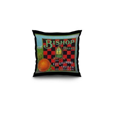 Los Angeles California Bishop Brand Citrus Label 16x16 Spun Polyester