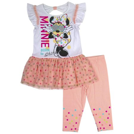 Minnie Mouse Toddler Girl Flutter Sleeve T-Shirt & Leggings, 2pc Outfit Set - Minnie Mouse Outfit For Women