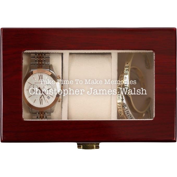 Custom Memories 3 or 5 Slot Cherry Finish Wood Watch Case