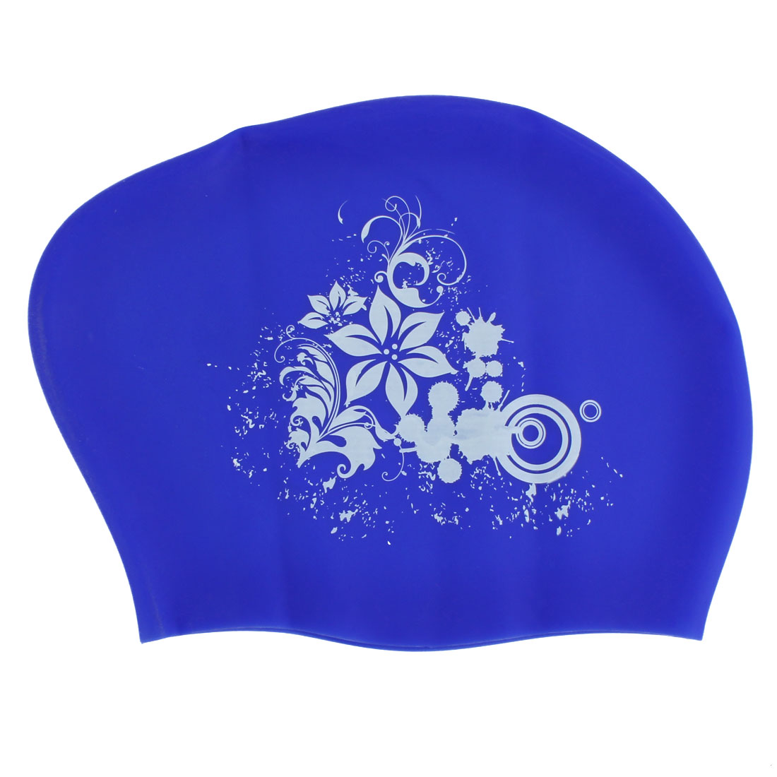 Women Silicone Flower Print Dome Shaped Water Resistant Swimming Cap Hat Blue