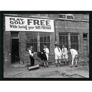 Buyartforless FRAMED Play Golf for Free While Suit Pressed 28x22 Vintage Photograph Art Print Poster