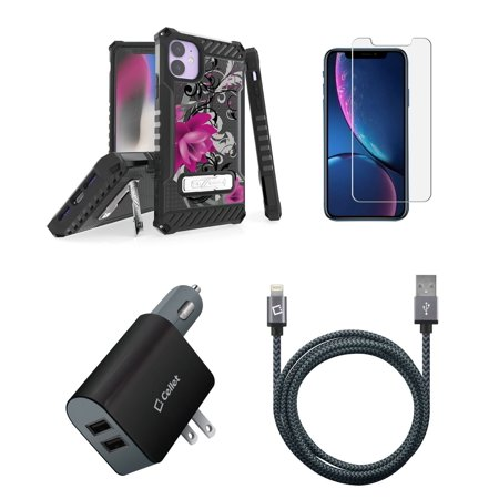 BC Tri Shield Military Grade Shockproof Stand Case (Lotus Flower) Bundle: Glass Screen Protector, UL Certified 10W Car/Wall Charger, MFI Lightning USB Cable (10-Foot) Compatible with Apple iPhone 11