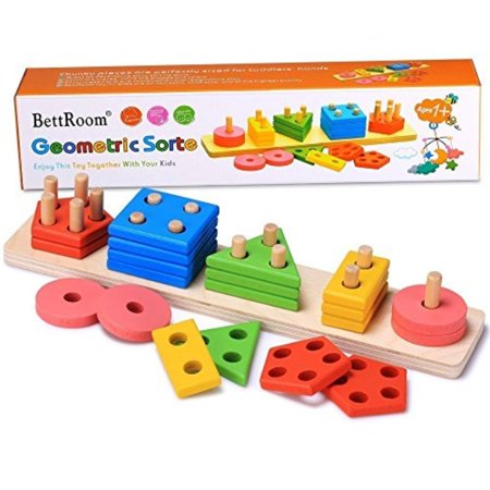 BettRoom Wooden Educational Preschool Toddler Toys for 1 2 3 4-5 Year Old Boys Girls Shape Color Recognition Geometric Board Blocks Stack Sort Kids Children Non-Toxic