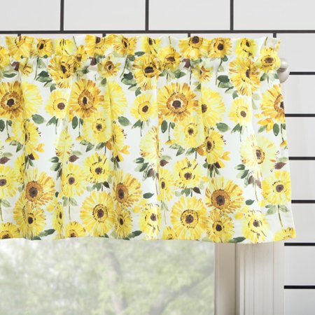 Mainstays Sunflower 3 Piece Kitchen Curtain Tier And Valance Set Walmart Com